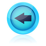Blue vector button with left arrow