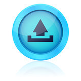 Blue vector upload button