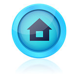Blue vector button with house