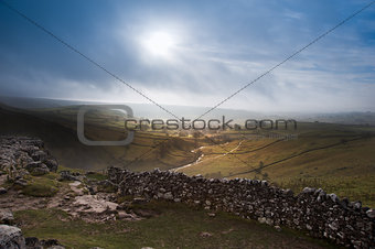Sunrise over Malham Cove and Dale in Yorkshire Dales National Pa