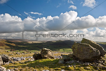 Atop Norber Erratics looking towards Wharfe Dale in Yorkshire Da