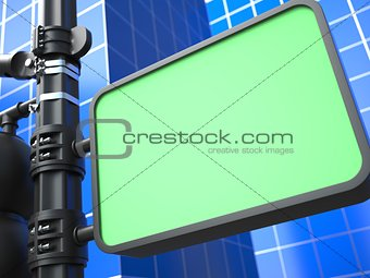 Blank Raodsign on Blue Background.