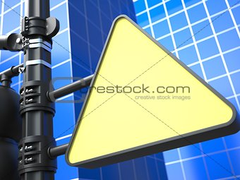 Blank Triangular Raodsign on Blue Background.