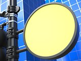 Blank Round Raodsign on Blue Background.