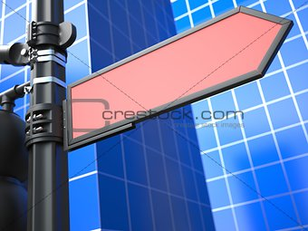 Blank Arrow Raodsign on Blue Background.