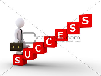 Businessman climbing stairs of success