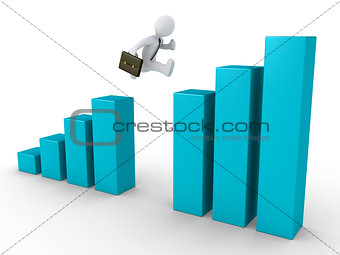 Businessman is jumping graph for better results