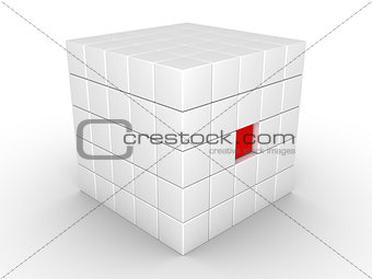 One cube is pressed inwards