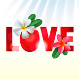 Love card with Frangipani flowers, vector Eps10 illustration.
