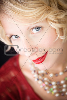 Beautiful blond lady looking at the camera