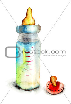 Baby bottle with milk and pacifier