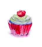 Watercolor illustration of cake