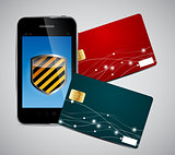 Credit card and Phone vector illustration