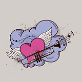 Heart with wings and trumpet