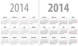 Calendar grid for 2014. Mondays first