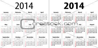 Calendar grid for 2014. Sundays first