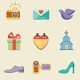Wedding color icon set