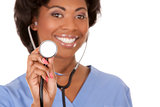 nurse using stethoscope