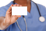nurse holding business card