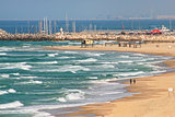 Beach along Mediterranean sea in Israel.