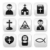 Religion, catholic church vector buttons set