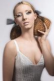 elegant girl woth creative make-up motion blur effect