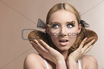 beauty portrait of expressive girl