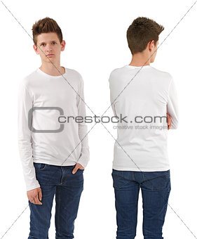 Slim teenager with blank white shirt