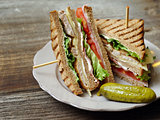 Club sandwich on a plate