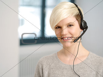Attractive receptionist with headset
