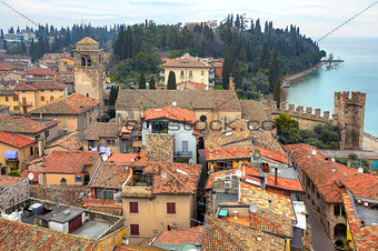 Aerial view on town of Sirmione in Italy.