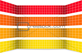 Abstract rows with white grid in perspective
