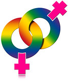 Gay Female Rainbow Colored Symbol