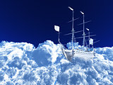 white ship soaring in cumulus clouds against the blue sky