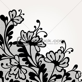 Black vector lace