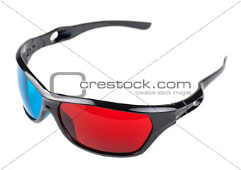 3d blue and red plastic glasses