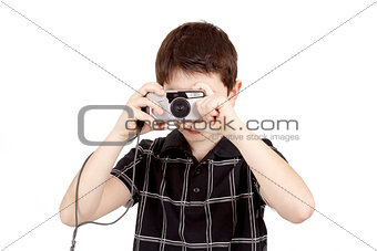 small boy photographing horizontal with digital camera