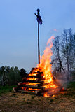 big walpurgis night fire with witch on pile