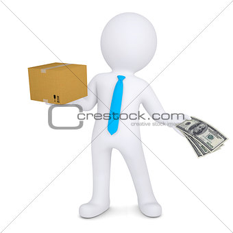 3d man changing a cardboard box on the money