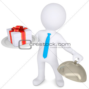3d man holding a gift box on platter