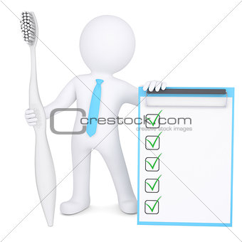 3d man holding a big toothbrush and checklist