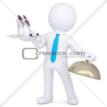 3d man holding female shoes on a platter