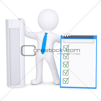3d man holding conditioner and checklist