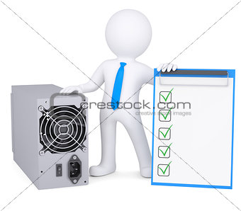 3d man next to the computer power supply