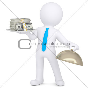 3d man holding a pile of money on a platter