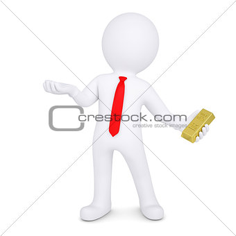 3d man with gold holds out his hand