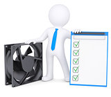 3d man next to a computer fan