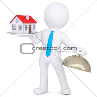 3d man holding a house on a platter
