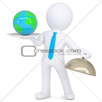 3d man holding a globe on platter