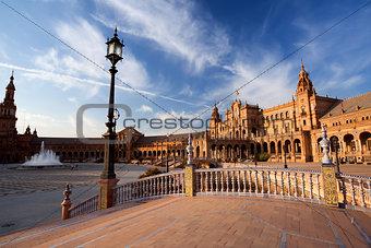 sunny Plaza de Espana in Sevilla